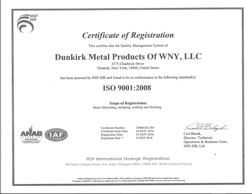 Dunkirk Metal Products of WNY, LLC - ISO 9000 Certificate of Registration