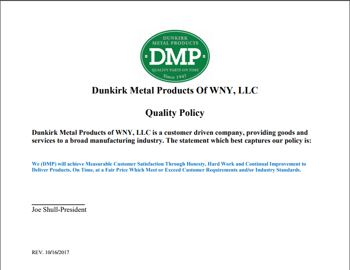 Dunkirk Metal Product's Quality Policy
